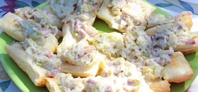 Pasta de fulls amb salsa de porros