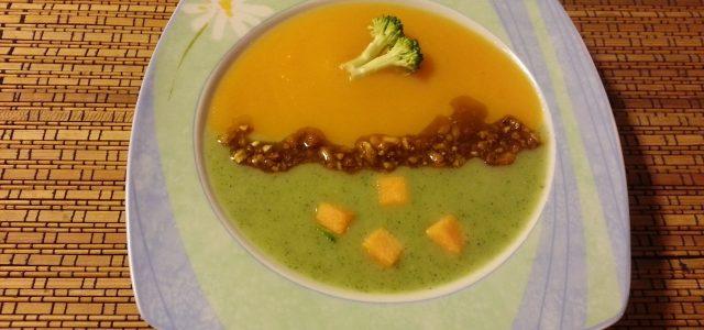 Crema de carbassa i bròquil amb blat de moro al curri